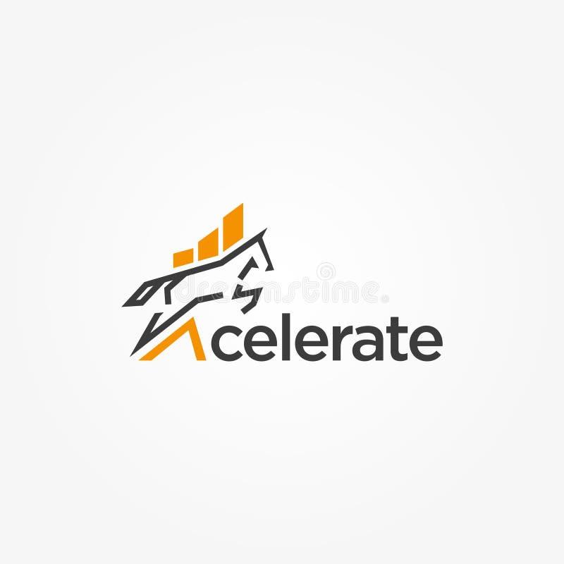 Ускорьте ход дизайна логотипа бухгалтера лошади иллюстрация вектора