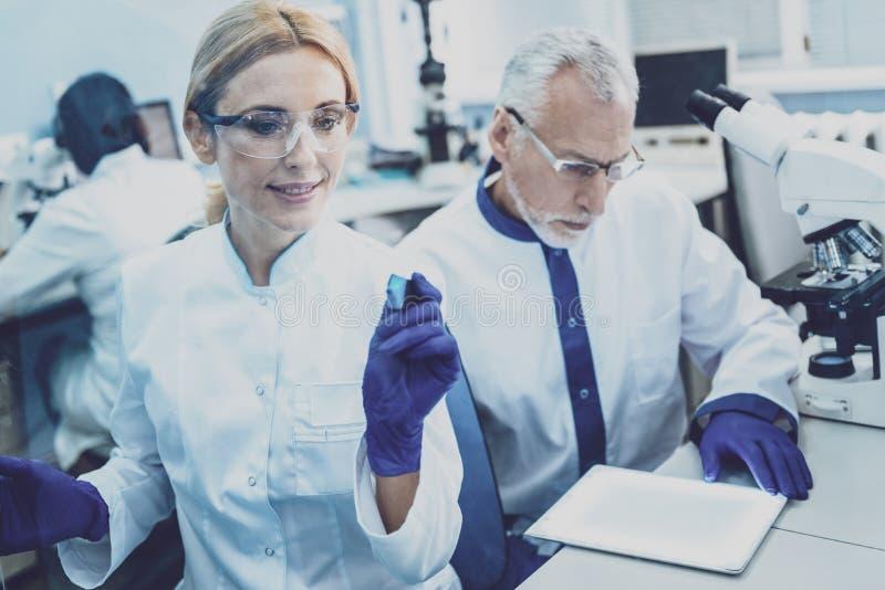 Услаженный исследователь работая с ее коллегой стоковая фотография rf