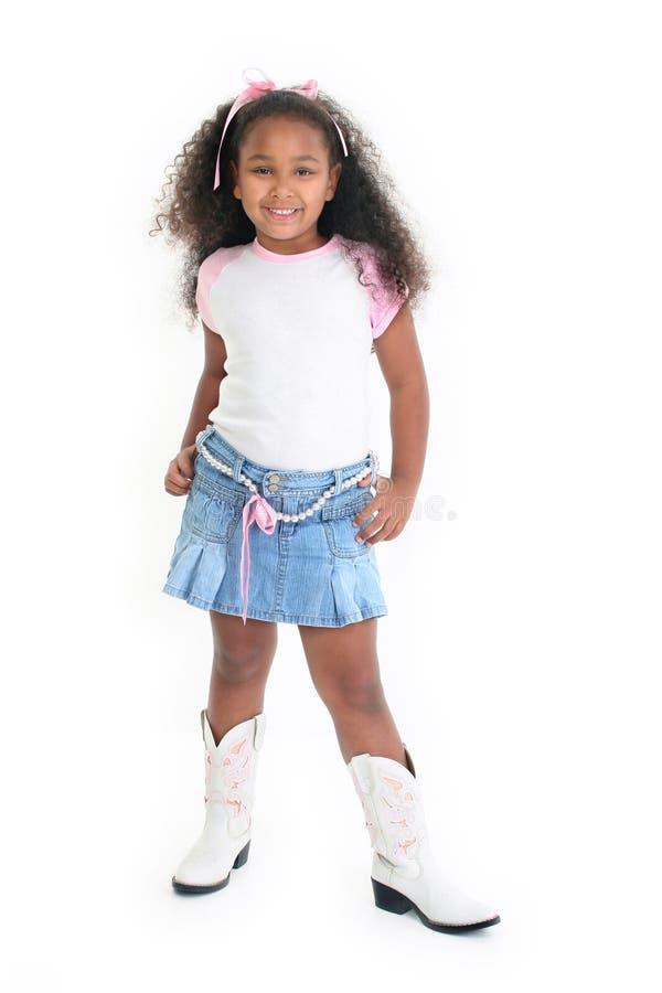 усмехаться девушки афроамериканца стоковое изображение rf