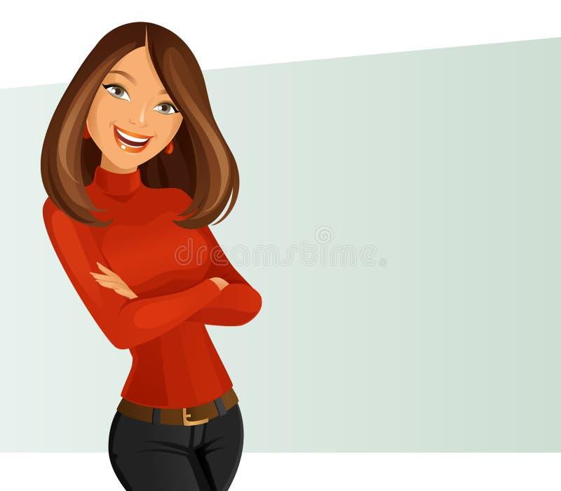усмехаться девушки иллюстрация вектора