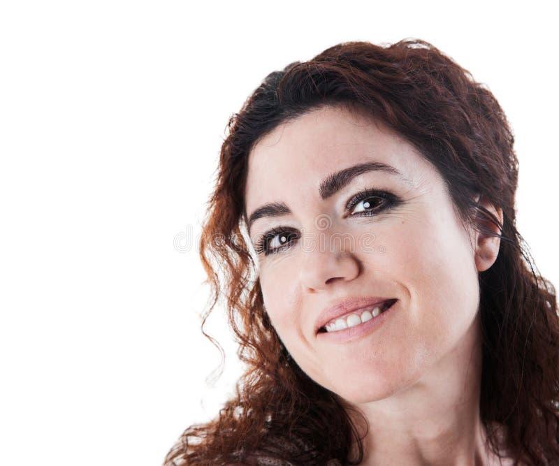 Усмехаться женщины брюнет стоковое фото