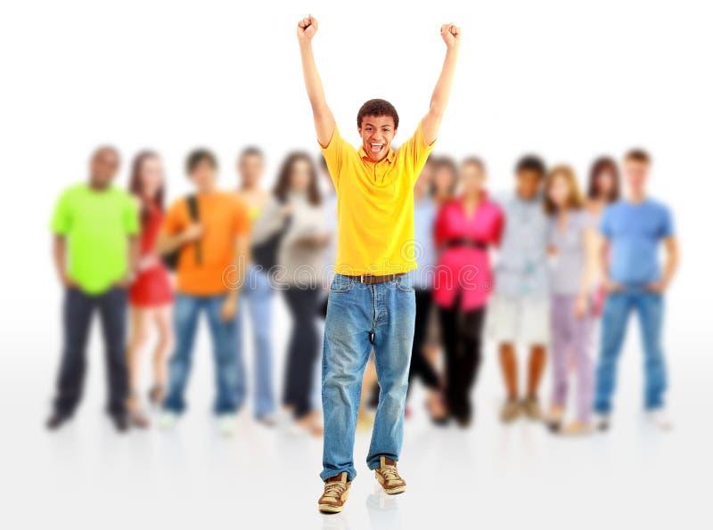 усмехаться людей вскользь группы счастливый стоковые изображения rf