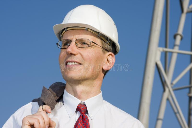 усмехаться места инженер по строительству и монтажу стоковые изображения rf