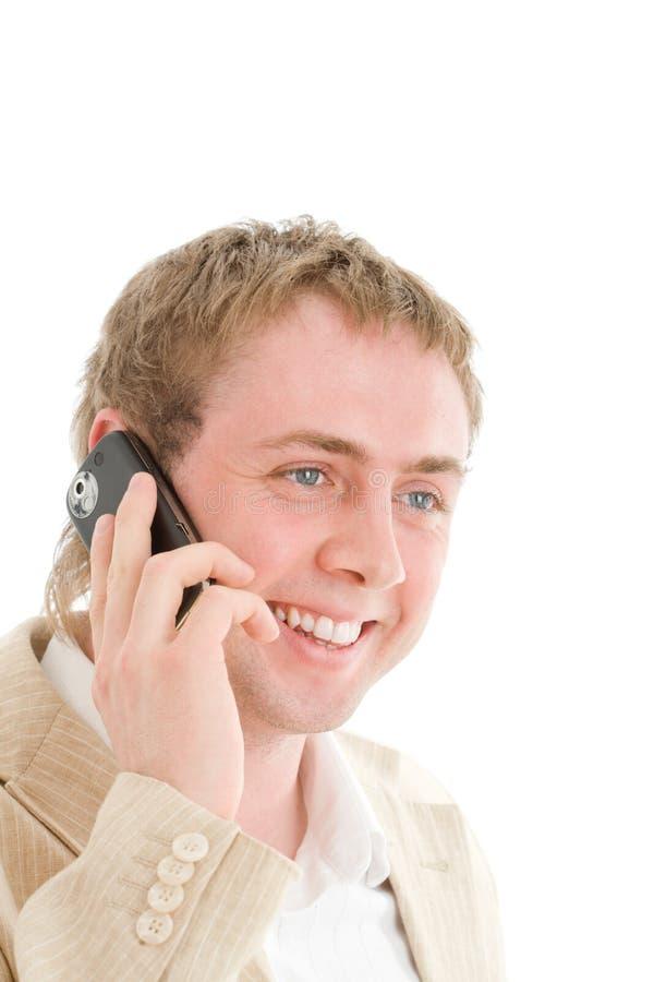 усмехаться мобильного телефона звонока бизнесмена стоковые фотографии rf
