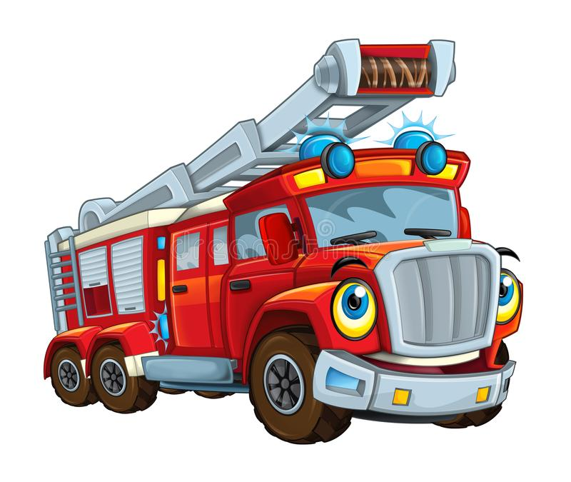 Усмехаться мультфильма счастливый и смешной смотря пожарного автобуса или тележки иллюстрация штока
