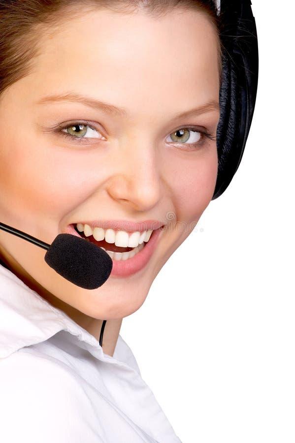 усмехаться оператора центра телефонного обслуживания стоковое изображение