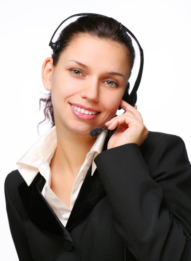 усмехаться оператора центра телефонного обслуживания стоковые изображения rf