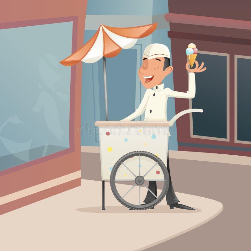 Усмехаться продавца мороженого счастливый с значком персонажа из мультфильма тележки ретро винтажным на дизайне шаржа предпосылки бесплатная иллюстрация
