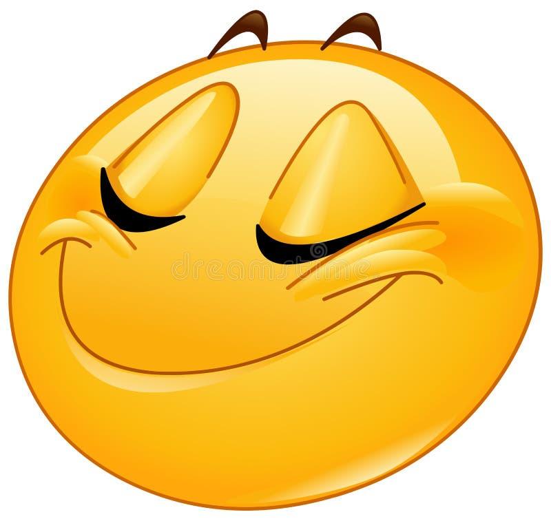 Усмехаться с закрытым смайликом женщины глаз бесплатная иллюстрация
