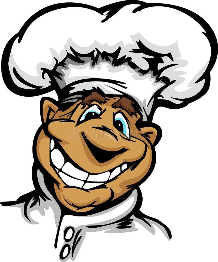 усмехаться талисмана кухни шлема шеф-повара шаржа иллюстрация вектора