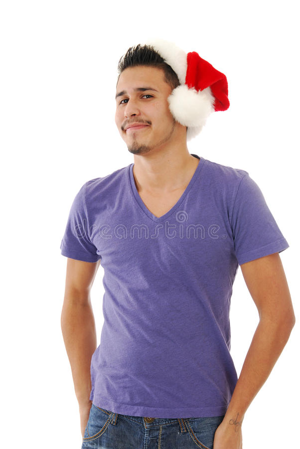 усмехаться santa человека шлема стоковые фото