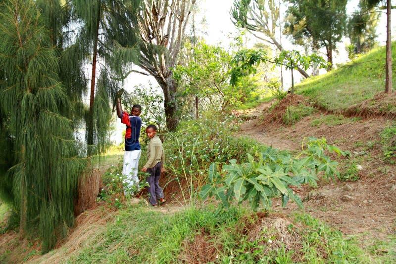 Усмехаясь африканские мальчики села стоковое изображение rf