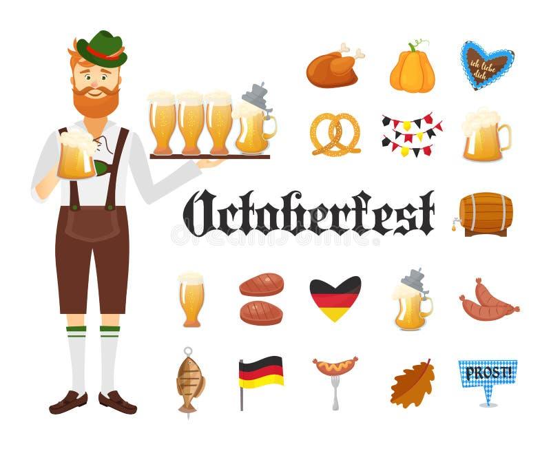 Усмехаясь баварский человек при красная борода и усик, одетые в традиционных костюме и шляпе с стеклами пива и комплектом  иллюстрация штока