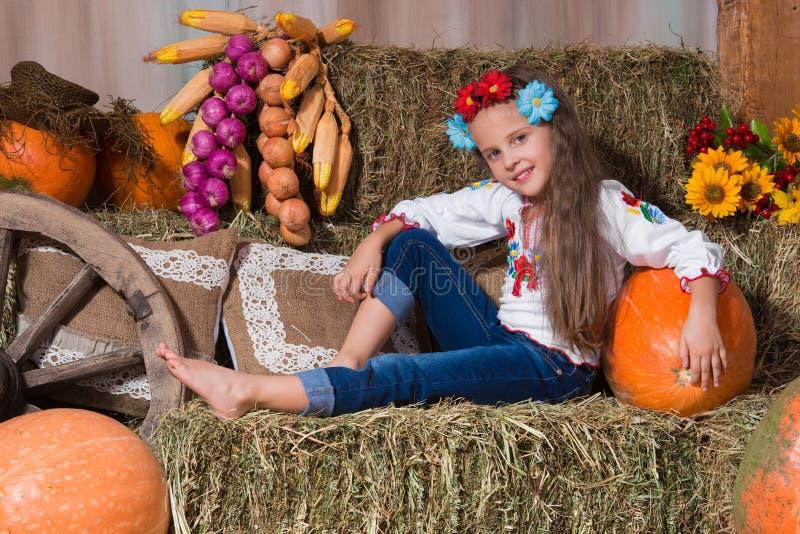 Усмехаясь белокурая девушка с длинными волосами в красочном украинском венке и в вышитый сидит на стогах сена Оформление осени, с стоковые изображения rf