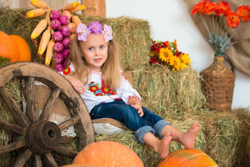 Усмехаясь белокурая девушка с длинными волосами в красочном украинском венке и в вышитый сидит на стогах сена Оформление осени, с стоковая фотография