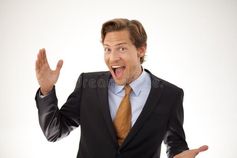 Усмехаясь бизнесмен представляя принципиальную схему стоковые изображения