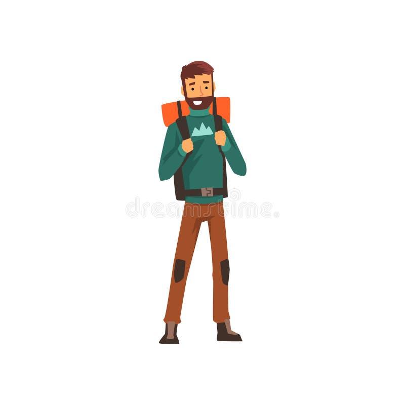 Усмехаясь бородатый человек с рюкзаком, на открытом воздухе приключениями, перемещением, располагаясь лагерем, укладывая рюкзак о иллюстрация штока
