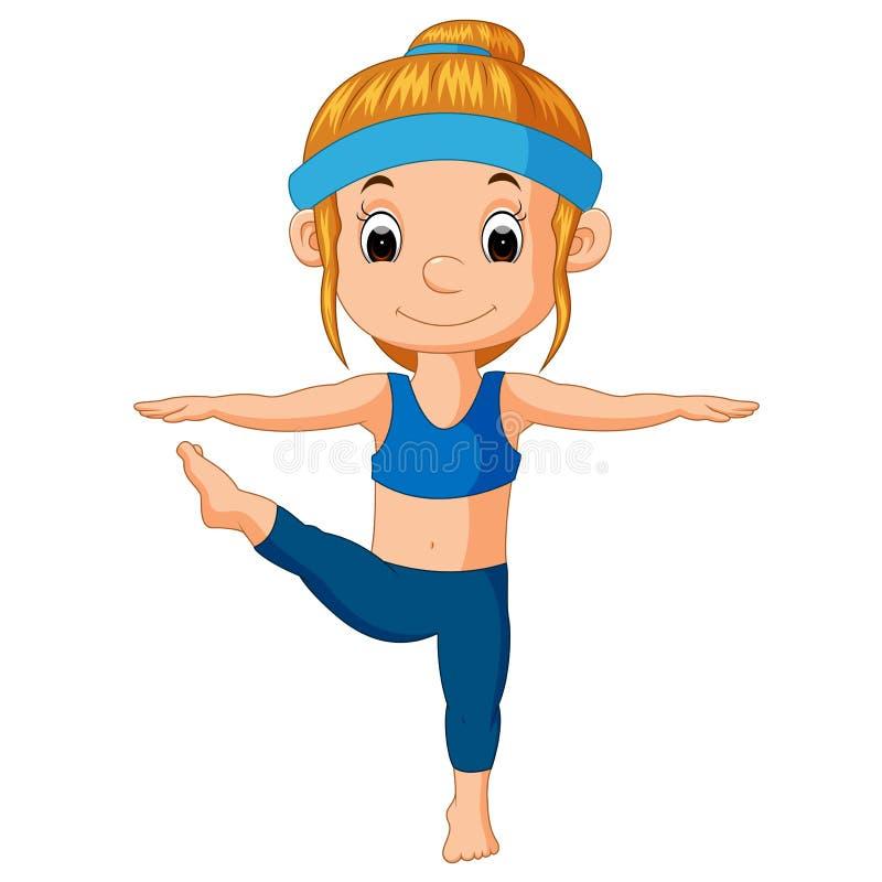 Усмехаясь девушка делая йогу иллюстрация штока