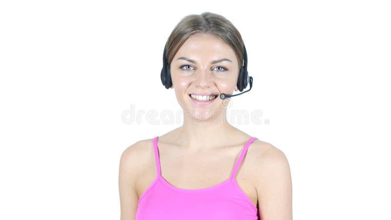 Усмехаясь девушка центра телефонного обслуживания, концепция обслуживания клиента стоковое изображение rf