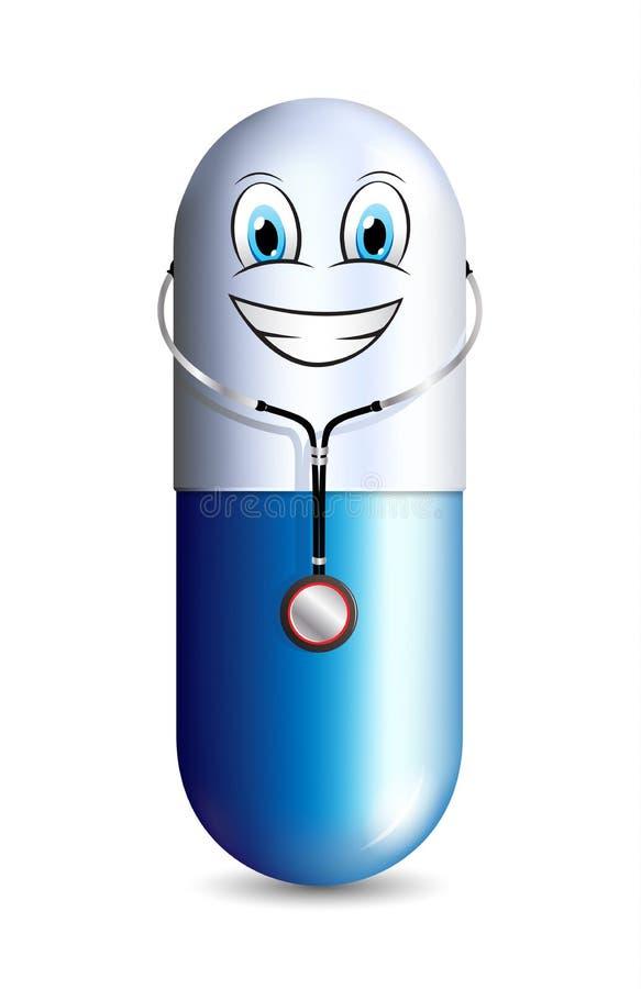 Усмехаясь доктор capsule нося характер талисмана стетоскопа смешной иллюстрация штока