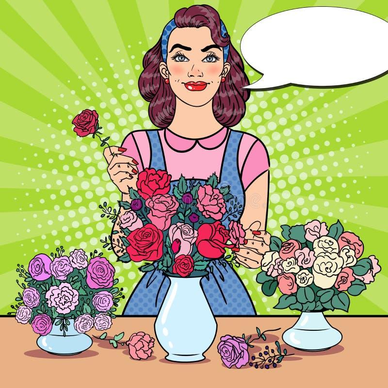 Усмехаясь женский флорист делая пук из цветков Иллюстрация искусства шипучки иллюстрация вектора