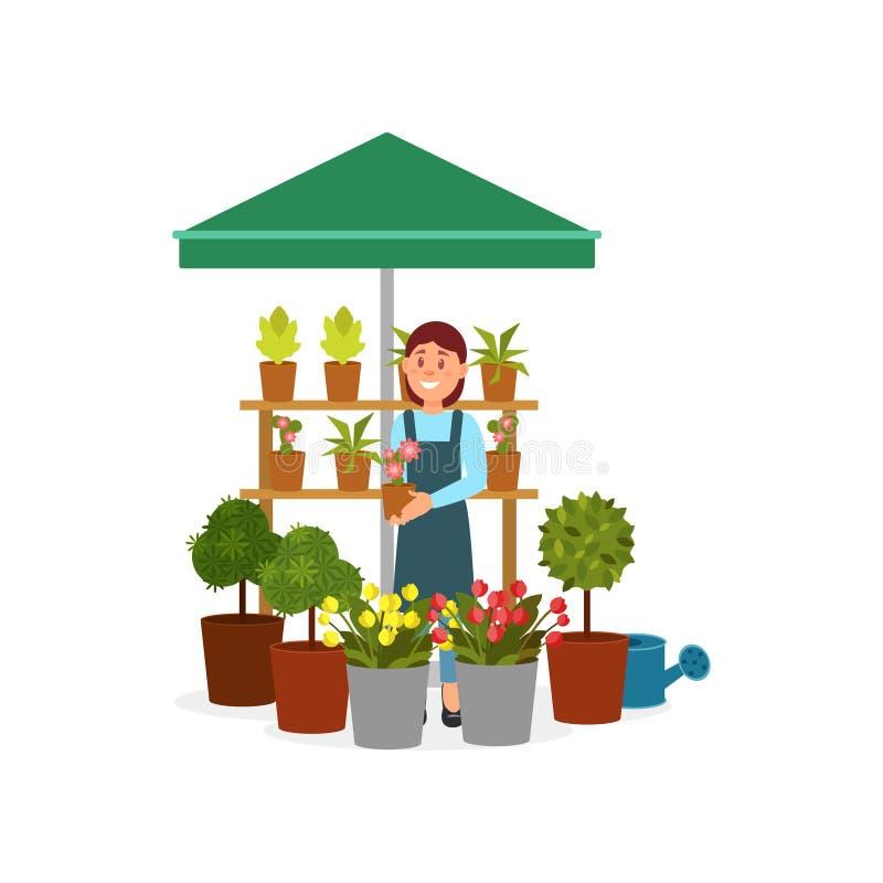 Усмехаясь женщина продавая цветки на стойке уличного рынка Маленькая девочка держа бак с зацветая заводом Плоский дизайн вектора иллюстрация вектора