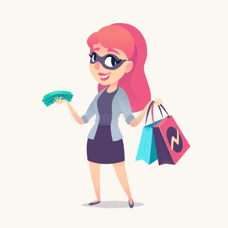 Усмехаясь женщина redhead как покупатель тайны в маске, с приобретениями и деньгами в руках иллюстрация вектора
