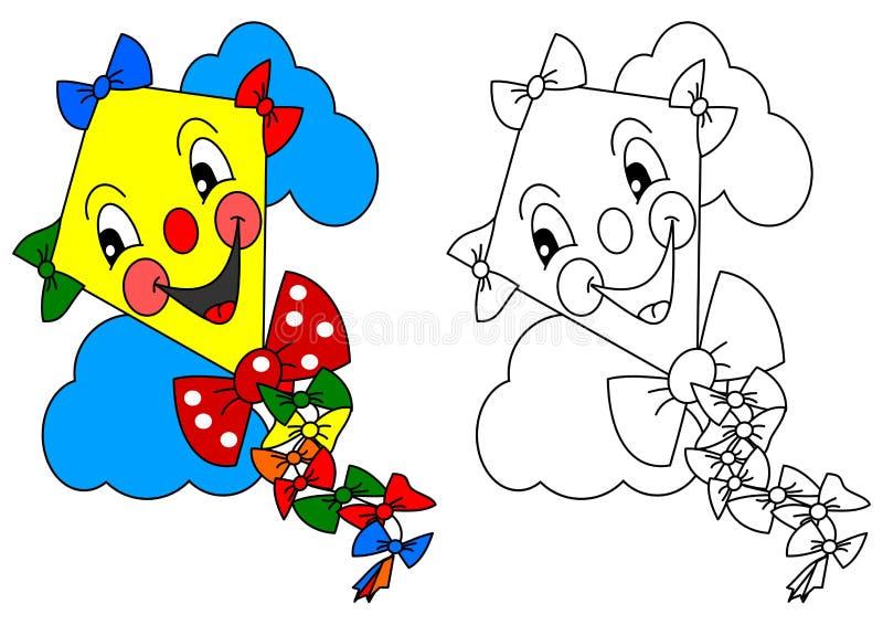 Усмехаясь желтый змей с красочными лентами как расцветка для маленьких ребеят бесплатная иллюстрация