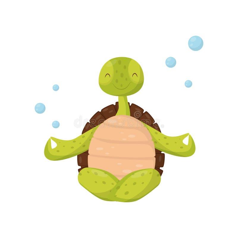 Усмехаясь зеленая черепаха сидя в положении лотоса Подводная йога Смешная морская тварь с коричневой раковиной нерезкость животно иллюстрация штока