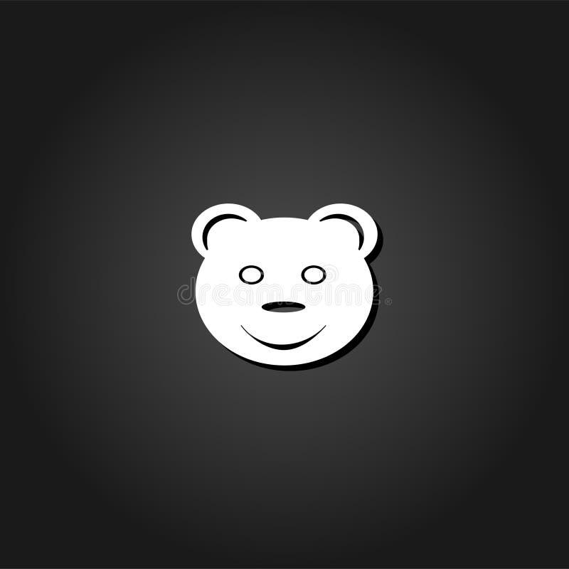 Усмехаясь значок плюшевого медвежонка плоско иллюстрация штока