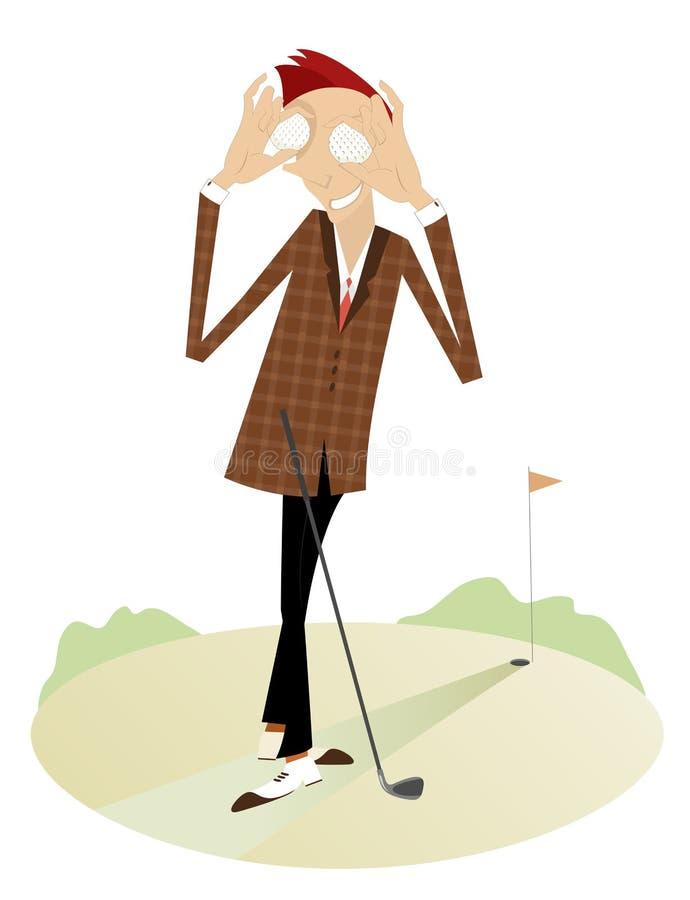 Усмехаясь игрок в гольф на поле для гольфа иллюстрация штока