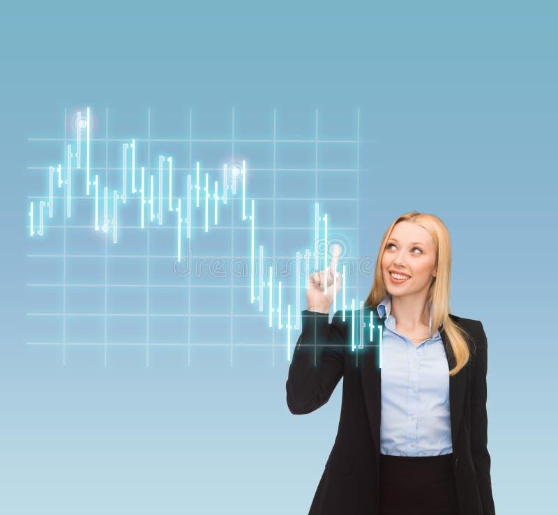 Усмехаясь коммерсантка указывая к диаграмме валют стоковые изображения rf