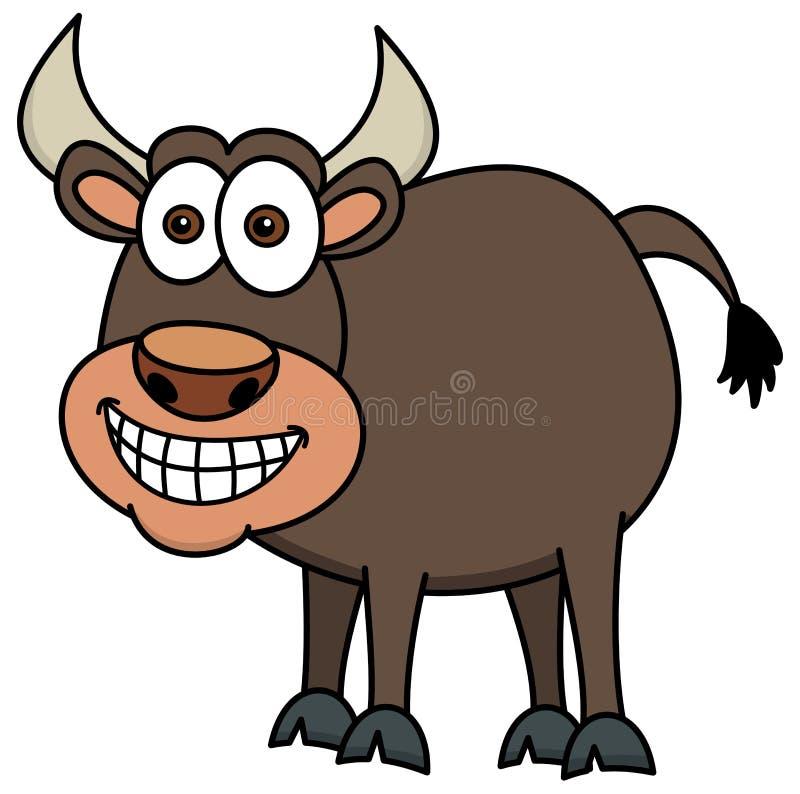 Усмехаясь коричневый бык иллюстрация штока