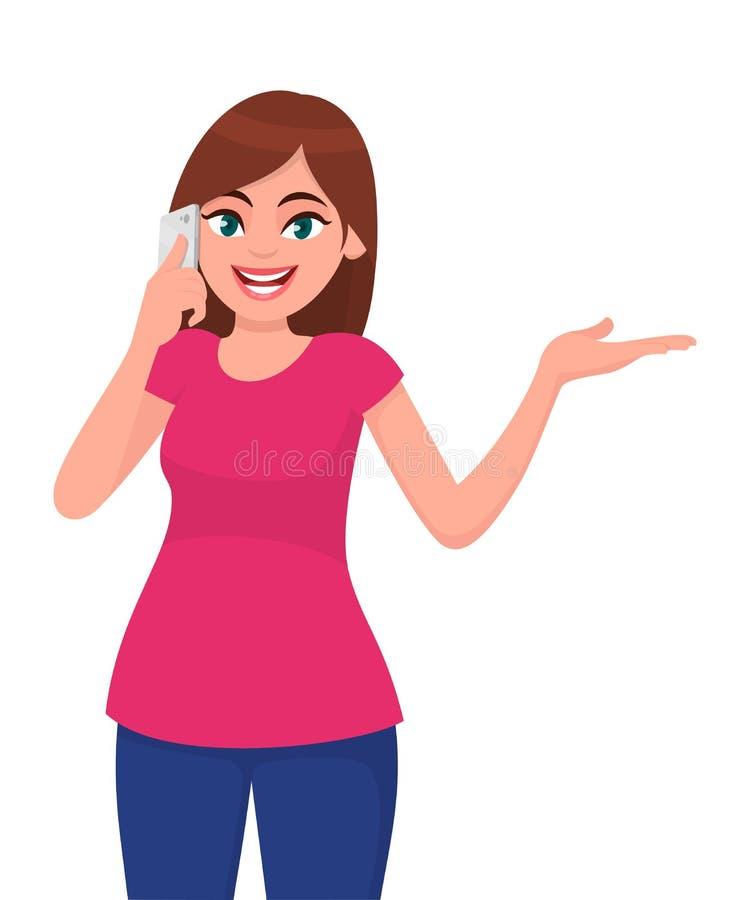 Усмехаясь красивая молодая женщина говоря на умном телефоне и показе или показывая жестами рука для того чтобы скопировать сторон иллюстрация вектора