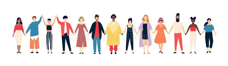 Усмехаясь люди и женщины держа руки Счастливые люди стоя в строке совместно Счастье и приятельство Плоский мужчина и иллюстрация вектора