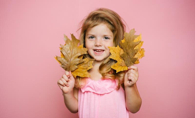 Усмехаясь маленькая девочка играя с листьями и смотреть камеру Осень празднует одежду детей Милая девушка маленького ребенка стоковое изображение rf