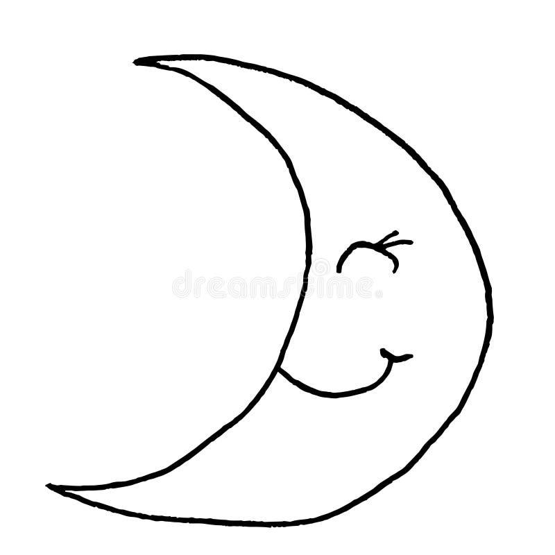 Усмехаясь молодая луна Эскиз чертежа руки Черный план на белой предпосылке r иллюстрация вектора