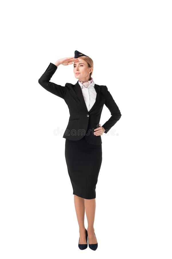 Усмехаясь молодой stewardess смотря прочь стоковое изображение rf