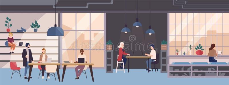 Усмехаясь молодые люди работая на компьтер-книжках в со-работая области Работники мужчины и женщины независимые сидя на компьютер иллюстрация штока