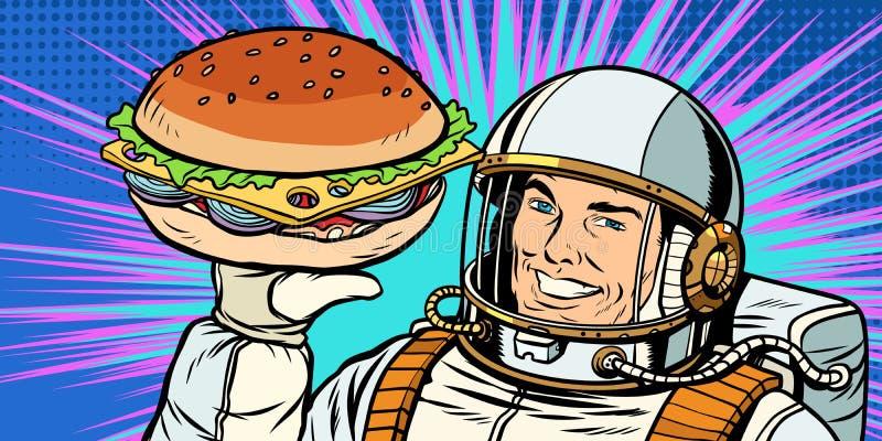 Усмехаясь мужской астронавт представляет бургер иллюстрация штока