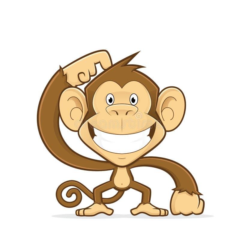 Усмехаясь обезьяна царапая его голову бесплатная иллюстрация