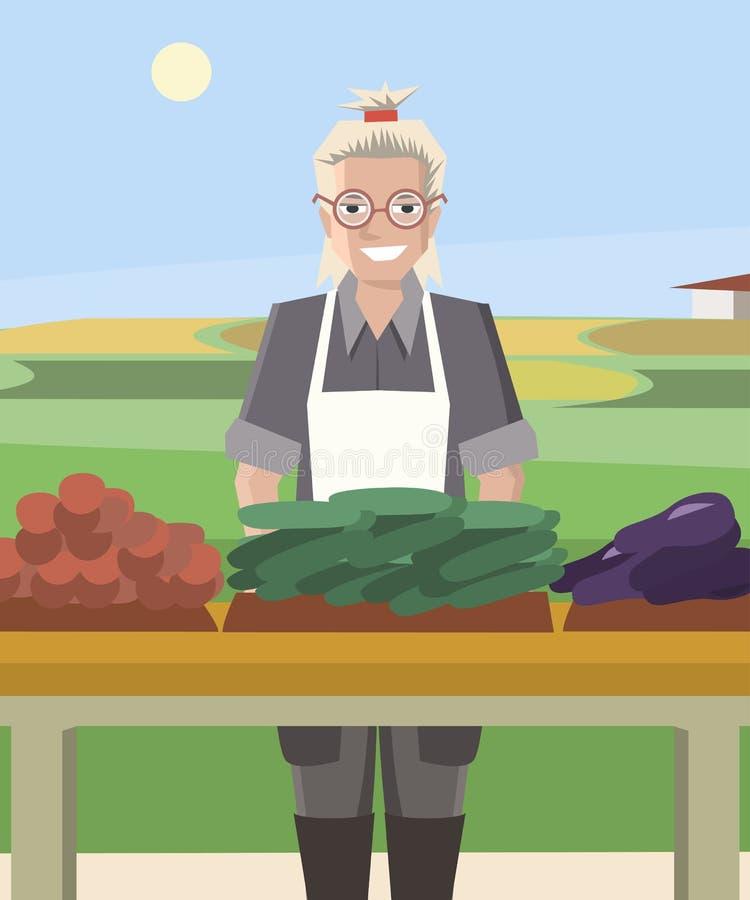 Усмехаясь овощи продавать фермера женщины бесплатная иллюстрация