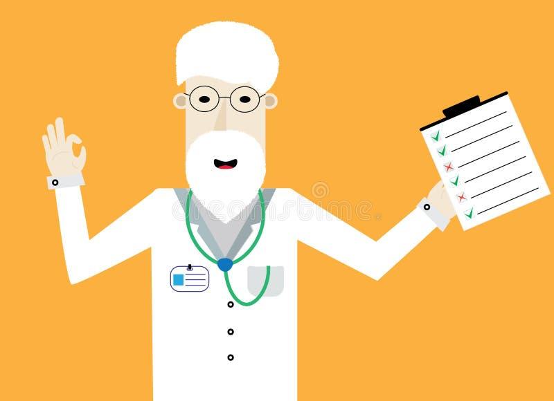 Усмехаясь доктор с контрольным списоком показывает о'кеы иллюстрация вектора