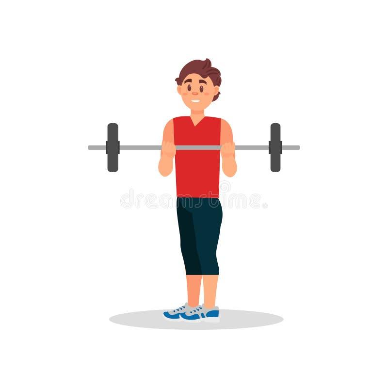 Усмехаясь парень делая тренировку с штангой Активная разминка в спортзале Физическая активность Плоская иллюстрация вектора иллюстрация штока