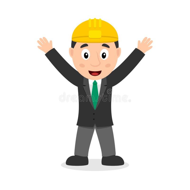 Усмехаясь персонаж из мультфильма инженера иллюстрация штока