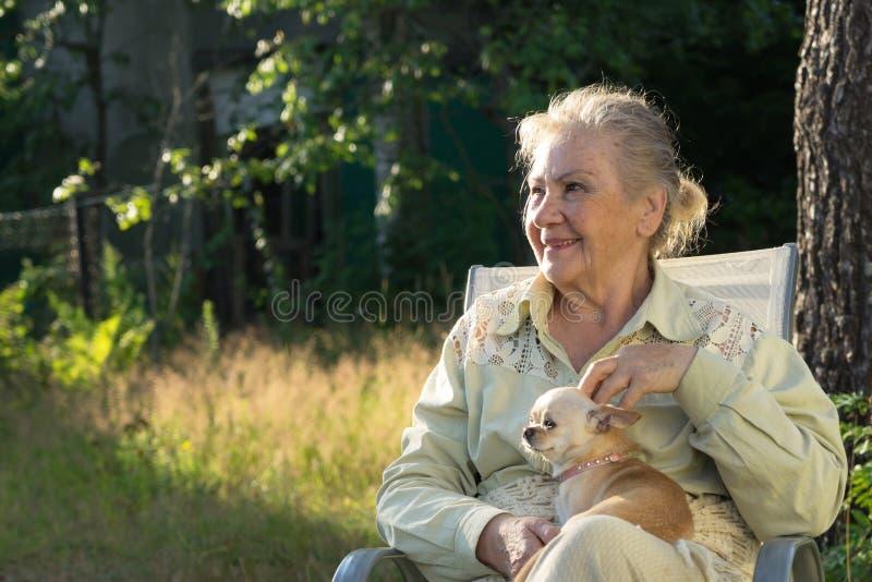 Усмехаясь пожилая женщина с ее усмехаясь чихуахуа стоковое изображение