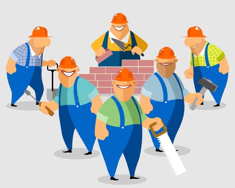 Усмехаясь построители на строительной площадке иллюстрация вектора
