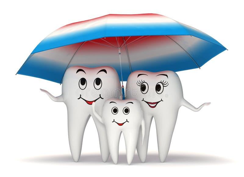 усмехаясь предохранение от семьи зуба 3d - зонтик иллюстрация штока