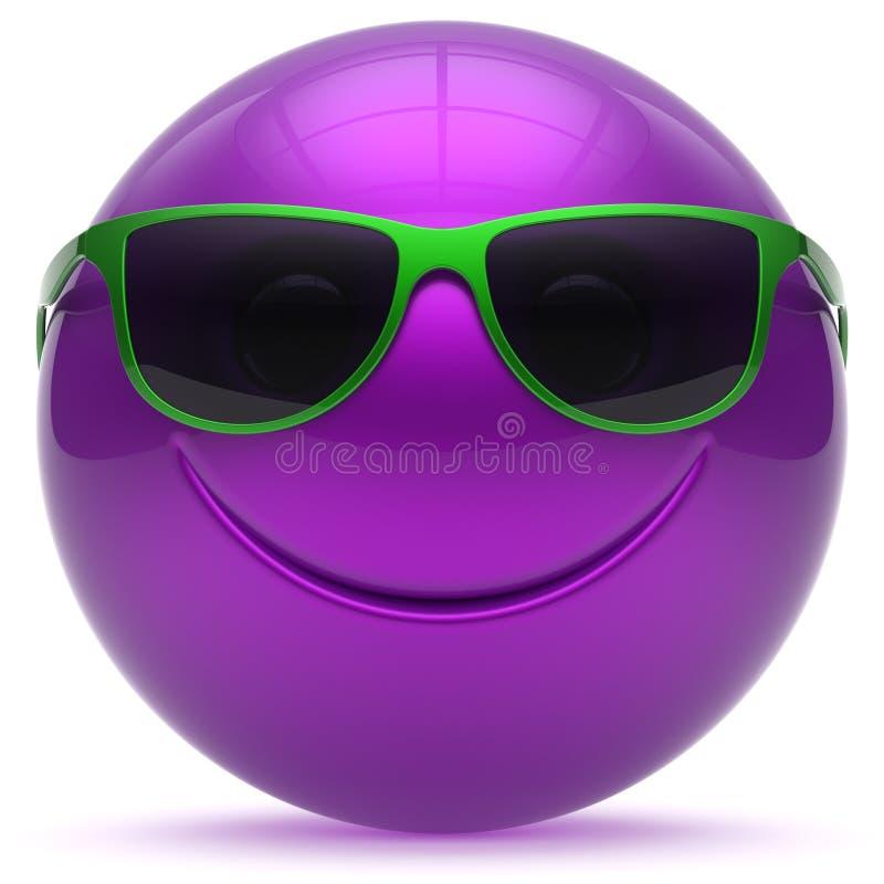 Усмехаясь пурпур smiley смайлика сферы головного шарика стороны жизнерадостный бесплатная иллюстрация