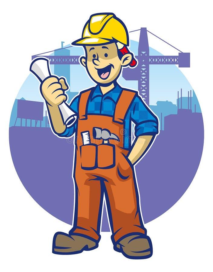 Усмехаясь рабочий-строитель носит трудную шляпу бесплатная иллюстрация